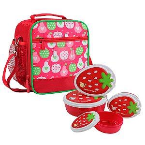 Lancheira escolar térmica vermelha Kids com potes de frutas