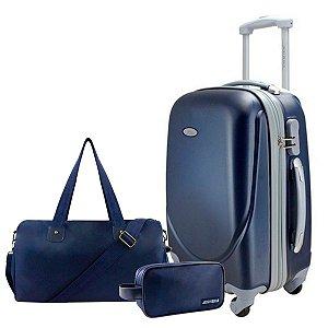 Mala P com Bolsa de Viagem e Necessaire Azul Jacki Design