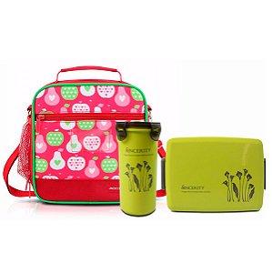 Lancheira Térmica Vermelho Kids com marmita e copo verde