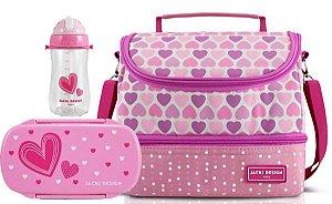 Bolsa Térmica Dupla com Marmita e garrafa coração rosa