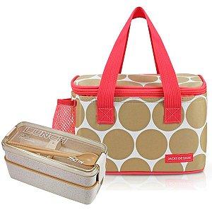 Bolsa Térmica P Dots Bege com Marmita 750 ml Jacki Design