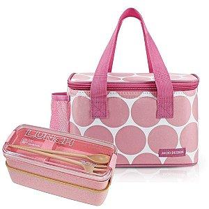 Bolsa Térmica Dots Rosa com Marmita e Talheres Jacki Design