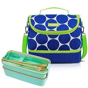 Bolsa Térmica Dupla Dots Azul com Marmita 750ml Jacki Design