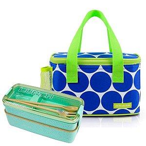 Bolsa Térmica Dots Azul em Poliéster c/ Marmita Jacki Design