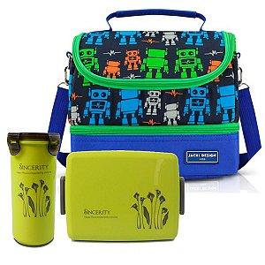 Lancheira escolar Infantil robõ Copo-pote verde Jacki Design
