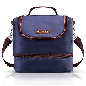 Bolsa Térmica dupla masculina azul com marrom Jacki Design