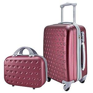 Mala P Giro 360° com maleta carona Love Vinho Jacki Design