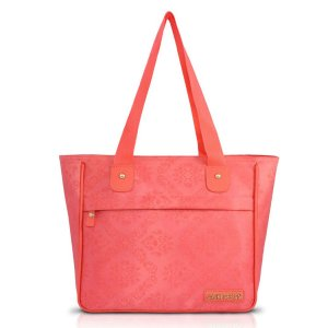 Bolsa Shopper Damasco com bolso salmão Jacki Design