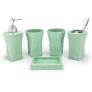 Conjunto de Banheiro Lifestyle com 5 Pças verde Jacki Design