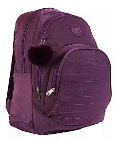 Mochila Escolar Notebook Feminina Impermeável Roxa Star Bag
