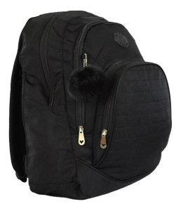 Mochila Escolar Notebook Feminina Impermeável Preta Star Bag