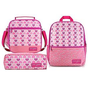 Mochila escolar com lancheira térmica e estojo coração rosa