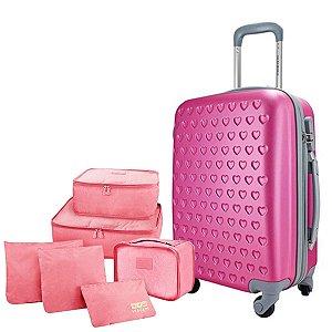 Mala P Giro 360° Love Pink com 6 Organizadores Jacki Design