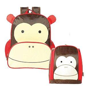 Mini mochila Escolar e Lancheira Térmica Zoo Macaco Colorizi