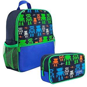 Kit mochila escolar sapeka com estojo robô Jacki design