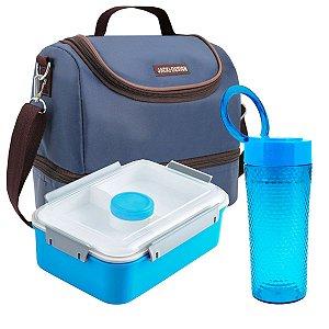 Bolsa Térmica Essencial azul com Marmita e Copo Jacki Design