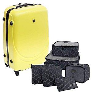 Mala de viagem média Amarela com 6 Organizadores pretos