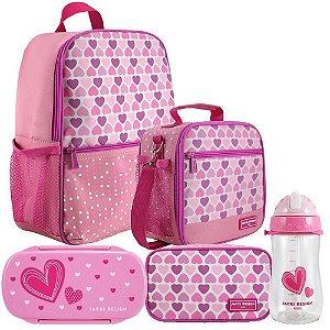 Kit mochila lancheira P marmita garrafa estojo coração rosa