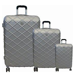 Kit com 3 malas Funchal Cruzeiro em abs 2 cores prata-verde