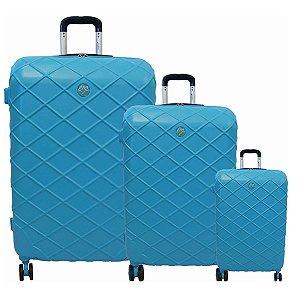 Kit com 3 malas Funchal Cruzeiro em abs azul e turquesa