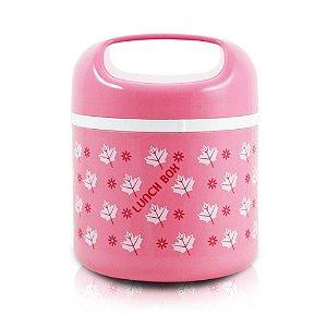 Marmita pote para alimentos pequeno om alça cor rosa