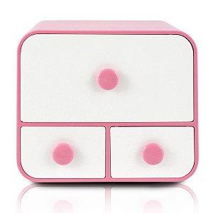 Caixa Organizadora rosa Com 3 Gavetas Jacki Design