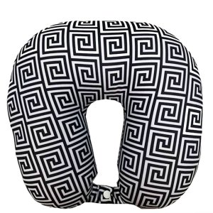 Almofada de Pescoço com Botão de Pressão Preta e Branca Cruzeiro