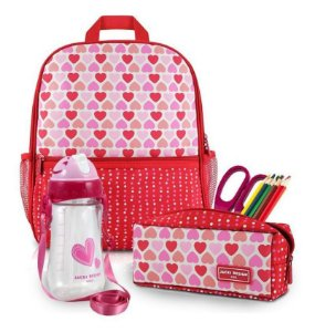 Conjunto Mochila Infantil Menina Escolar coração vermelho