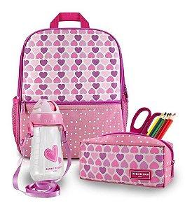 Conjunto Mochila Infantil Menina Escolar coração rosa