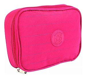 Estojo 100 Pens Impermeável Escolar Feminino Rosa Star Bag