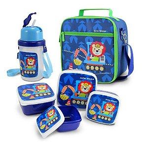 Kit com lancheira potes e garrafa infantil leão filhotinhos