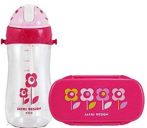 Kit Pote Lanche E Squeeze Infantil Menina flor rosa e verde