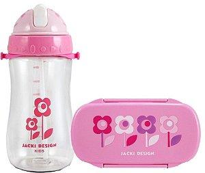Kit Pote Lanche E Squeeze Infantil Menina flor rosa