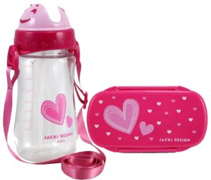 Kit Pote Lanche E Squeeze Infantil Menina Coração rosa