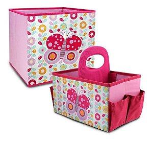 Kit com 2 Organizadores de Brinquedos rosa Jacki Design