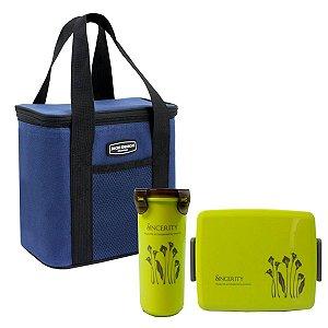 Bolsa Térmica Urbano azul Jacki Design com Marmita e copo