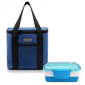 Bolsa Térmica Urbano azul com alça de mão e marmita dupla