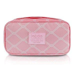 Bolsa Porta Lingerie Com Divisória Rosa Jacki Design