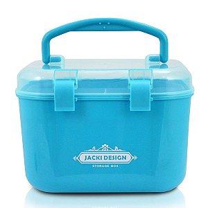 Caixa Organizadora P azul Com Alça e Trava Jacki Design