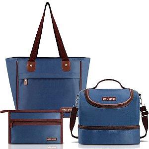 Bolsa Essencial Bolsa Térmica e Necessaire Azul Jacki Design
