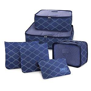 Kit Organizador de Malas de Viagem 6 Peças azul Jacki Design