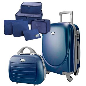 Kit Mala P 360° Select com maleta e 6 organizadores azuis