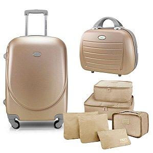 Kit Mala P 360° Select com maleta e 6 organizadores dourado