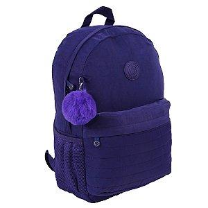 Mochila Escolar Feminina Impermeável azul com pompom StarBag
