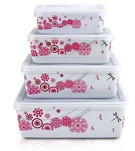 Pote  Marmita Para Alimentos De 4 Pçs Pink Jacki Design