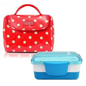 Kit lancheira escolar look vermelho Marmita Dupla azul