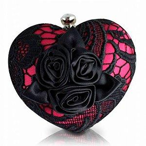 Bolsa de Festa de Coração em rendas preto e rosa Jacki Desig