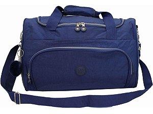 Bolsa Viagem Academia Grande Azul Com Chaveiro Pompom