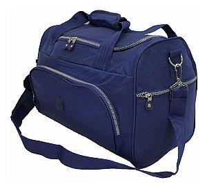 Bolsa Viagem Academia Media Com Chaveiro Pompom Azul Skeet