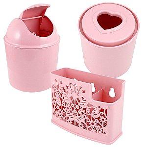 Kit de acessórios para banheiro 3 peças rosas Jacki Design